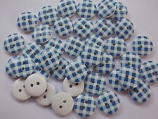 40 x BLUE/WHITE GINGHAM 2 HOLE WOODEN 15mm BUTTONS, SCRAPBOOKING, CRAFT ETC.,