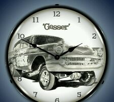 New nostalgic hot rod GASSER car LIGHT UP clock  More old style clocks available