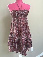 H&M Burgundy Ruffle Floral Dress Size XS Super Cutie
