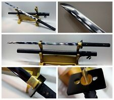Japanese Shrine Ninja Sect Samurai Tang Sword Katana Black 1060 Steel +Sword Bag