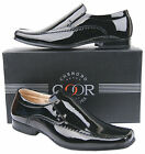 Mens New Black Slip On Leather Lined Patent Dress Wedding Shoes Free UK Shipping