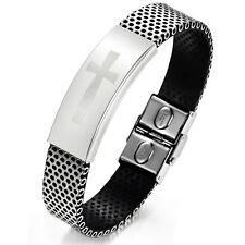 """Unisex Men Women's Stainless Steel Black Rubber Bracelet 8"""" G11"""
