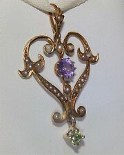 ANTIQUE  9CT GOLD AMETHYST PERIDOT  SEED PEARL SUFFRAGETTE  PENDANT