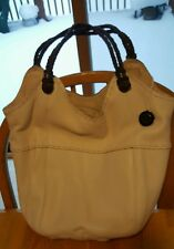 The Sak Indio Bone Soft Pebbled Leather Braided Handles Bucket Slouchy Tote Bag