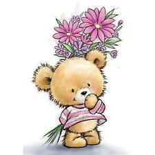 New Wild Rose Studio Clear cling rubber stamp  BEAR WITH FLOWERS Free us shp