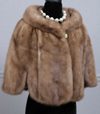 Vintage 60s Emba Pastel Natural Brown Fully Let Out Real Mink Fur Cape Stole