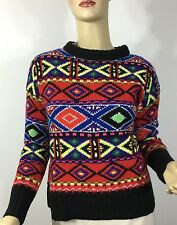 Ralph Lauren Polo Nordic Fair Isle Hand Knit Sweater Womens Small Wool Indian