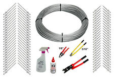 "Full Deck Cable Rail Kit - 1000ft Cable, 1/8"" End Fittings, & Tools (Metal Post)"