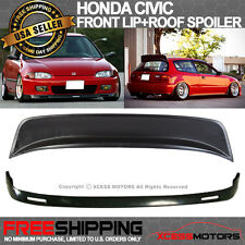 92-95 Honda Civic 3Door EG Hatchback BYS PU Front Lip + ABS Roof Spoiler