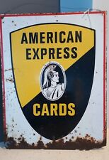VINTAGE - AMERICAN EXPRESS CO - BLK & GOLD CENTURION TWO SIDED SIGN,1960's