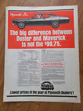 1970 Plymouth Duster Ad Big Difference between Duster & Maverick is not $90.75