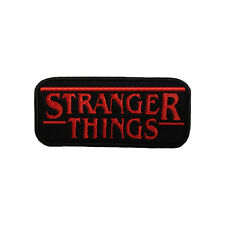 Embroidered Stranger Things Logo Iron & Sew On Appliqué Patch On Black Felt