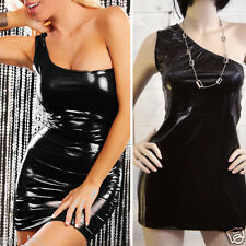 Women Black Wet Look Slim One Sleeve Cocktail Party Cocktail Evening Mini Dress