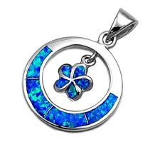 Silver Pendant with Lab Opal Plumeria 25 mm Stone Blue Lab Opal fashion Women's