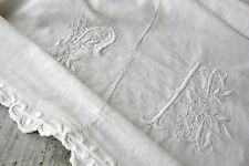 Vintage French Sheet cotton 70X115 FA white monogram SOFT linen cotton blend