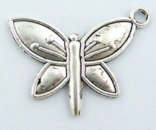 10 Pcs Antique Silver Butterfly Pendants Findings 14*25mm LC1550