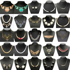 Charm Women Crystal Choker Chunky Statement Bib Pendant Chain Necklace Jewelry