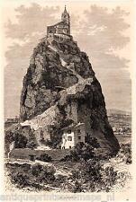 Antique print Mont Saint-Michel, Rock France 1869 mount gravure sur bois