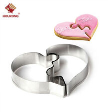 2Pcs Heart Puzzle Cookie Cutter Mould Baking Tools Stainless Steel Biscuits Cut