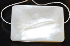 24x34x4mm Shimmering~Natural White Shell MOTHER OF PEARL Rectangl Pendant N1014