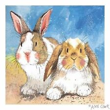 "Rabbit Print, ""Big Ears"" by Alex Clark-Mounted White Board 30cm x 30cm"