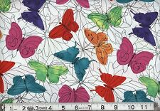 "1 yard Springs ""Multi Butterfly Funky Florals"" Fabric"