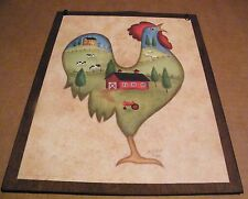 9x11 Country primitive Rooster Kitchen art barn house cow sheep wall decor sign