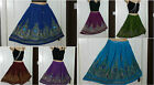 Ladies Indian Boho Hippie Gypsy Festival Knee Length Sequin Skirt Party (8-14)