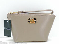 Ralph Lauren Newberry Porcini Leather Cosmetic Wristlet Makeup Bag Pouch New NWT