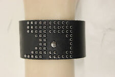 NWOT UNISEX JOE'S JEANS LEATHER STUDDED CUFF BRACELET BLACK ONE SIZE