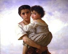YOUNG GYPSY GIRL HOLDING LITTLE SISTER CHILD OIL PAINTING ART REAL CANVAS PRINT