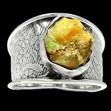 Ethiopian Opal Rough 925 Sterling Silver Ring Jewelry s.8 RR21698
