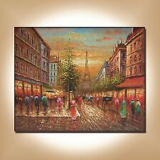 LARGE READY TO HANG OIL PAINTING - STREETSCAPE OF PARIS EIFFEL TOWER STREET