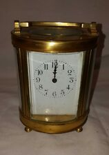 ANTIQUE FRENCH GILT BRASS CARRIAGE CLOCK OVAL SHAPE - 19THC