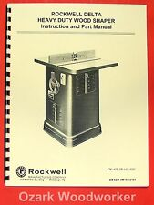ROCKWELL Older Heavy Duty Wood Shaper 43-205 & 1340 Operator & Parts Manual 0616