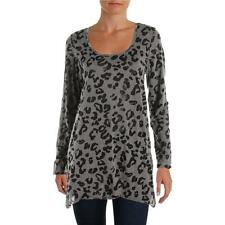 Allen Allen 7606 Womens Gray Sheer Animal Print Tunic Top Shirt S BHFO