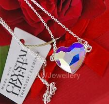 925 STERLING SILVER CHAIN NECKLACE SWAROVSKI Elements HEART CRYSTAL AB 14mm