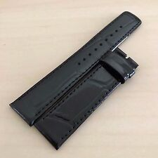 18mm High Quality Genuine Calf Leather Shiny Watch Band Jet Black 18x18