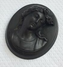 Antique Victorian Vulcanite Bois Durci Mourning Cameo From Bracelet or Brooch