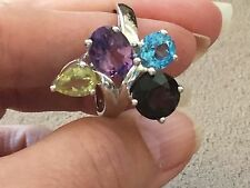 Multi gem stone ring set in sterling silver sizes 9 and 10