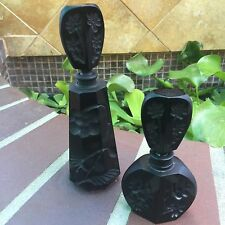 Rare 2 Baccarat Black Crystal Perfume Bottles Etched Flowers 1920's STUNNING