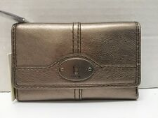 NWT Fossil Marlow Multi function Leather Zip Clutch Wallet Pewter $65
