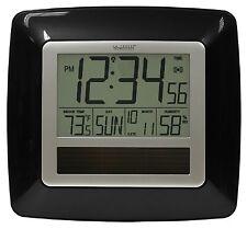 WT-8112U-BK La Crosse Technology Solar Atomic Digital Wall Clock IN Temp / Humid