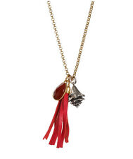 LUCKY BRAND Cuba Libre Red Bead Leather Tassel Seashell Charm Gold-Tone Necklace