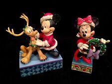 Jim Shore Disney Traditions, Mickey, Minnie and Pluto Christmas Santa Set! NIB!