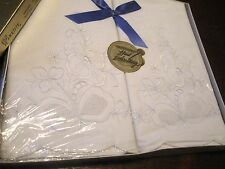 PRETTY PAIR-SET 2 Antique/Vntg WHITE ON WHITE Embroidery PILLOW CASES-UNUSED-BOX