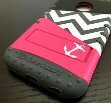 For iPhone 6 / 6S - HARD & SOFT RUBBER HYBRID ARMOR CASE HOT PINK CHEVRON ANCHOR