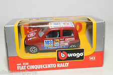 BBURAGO BURAGO 4138 FIAT CINQUECENTO RALLY RED MINT BOXED..