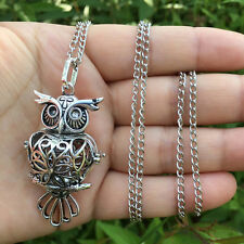 Owl Locket Pendant DIY Necklace Fragrance Aromatherapy Essential Oil Diffuser