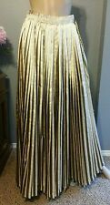 NWT Gianfranco Ferre Italy Pleated Gold Lame Tie Stripe Circle Maxi Skirt 42